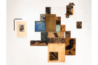 2006. Installation with woodcuts, cutting board and found objects. 6' x 8'